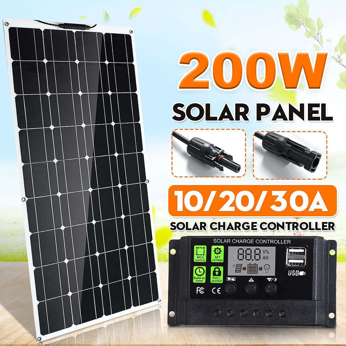 <font><b>200W</b></font> <font><b>Solar</b></font> <font><b>Panel</b></font> Dual USB Output Flexible MonoCrystalline Silicon <font><b>Solar</b></font> <font><b>Panel</b></font> 10/20/30A Controller for Car Yacht Battery Charger image