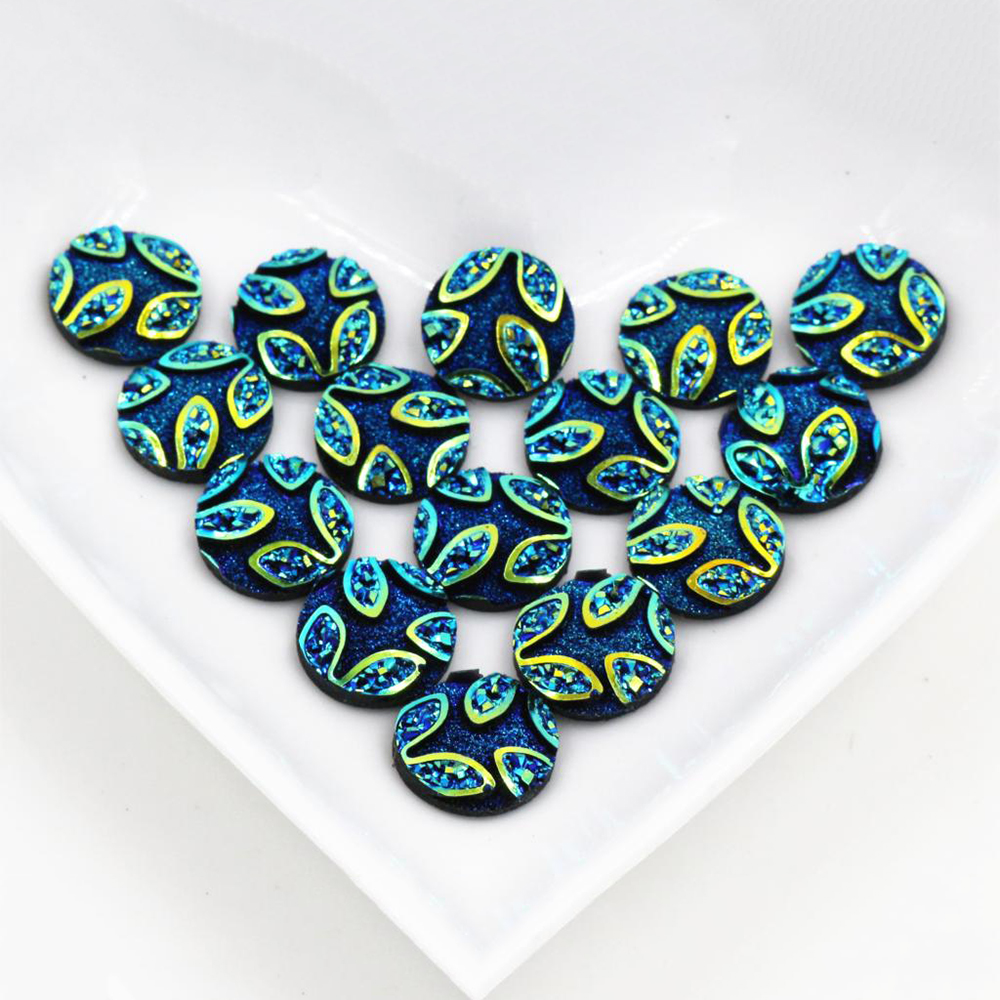 New Fashion 40pcs 12mm  Blue Colors Flower Style Flat Back Resin Cabochons Cameo  H1-36