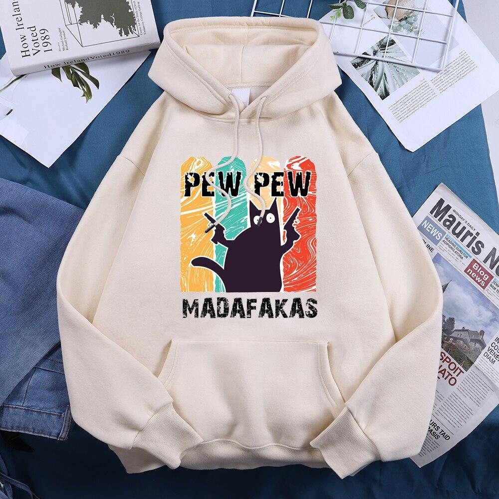 Pew Pew Cool Madafakas Black Cat Women Hoody 2021 Vintage Harajuku Hooded Hip Hop Fashion Streetwear Comfort Fleece Woman Hoodie 11