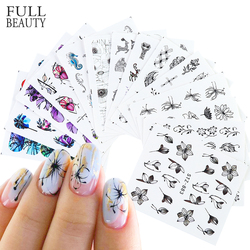 Black Flowers Nail Decals Sliders Set Floral Leaves Geometry Water Wraps Tattoo Spring Designs DIY Manicure Foils CHSTZ880-902-1