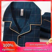 Зимняя пижама из 100% хлопка Мужская одежда для сна синяя клетчатая