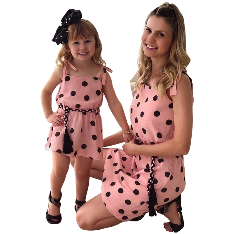 Matching Mother Daughter Clothes 2019 Printed Polka-Dot Straps With Dress Family Matching Clothes Party Dresses Cotton Clothes