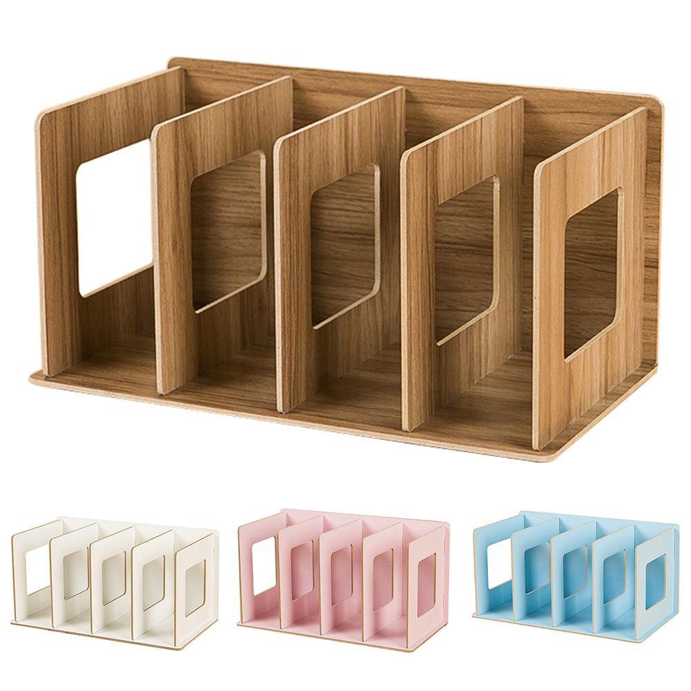 Simple Multi-Tier Bookshelf 4 Grids Original Storage Shelf For Books Sundries DIY Wood Cabinet Desk Book Rack Home Children Book