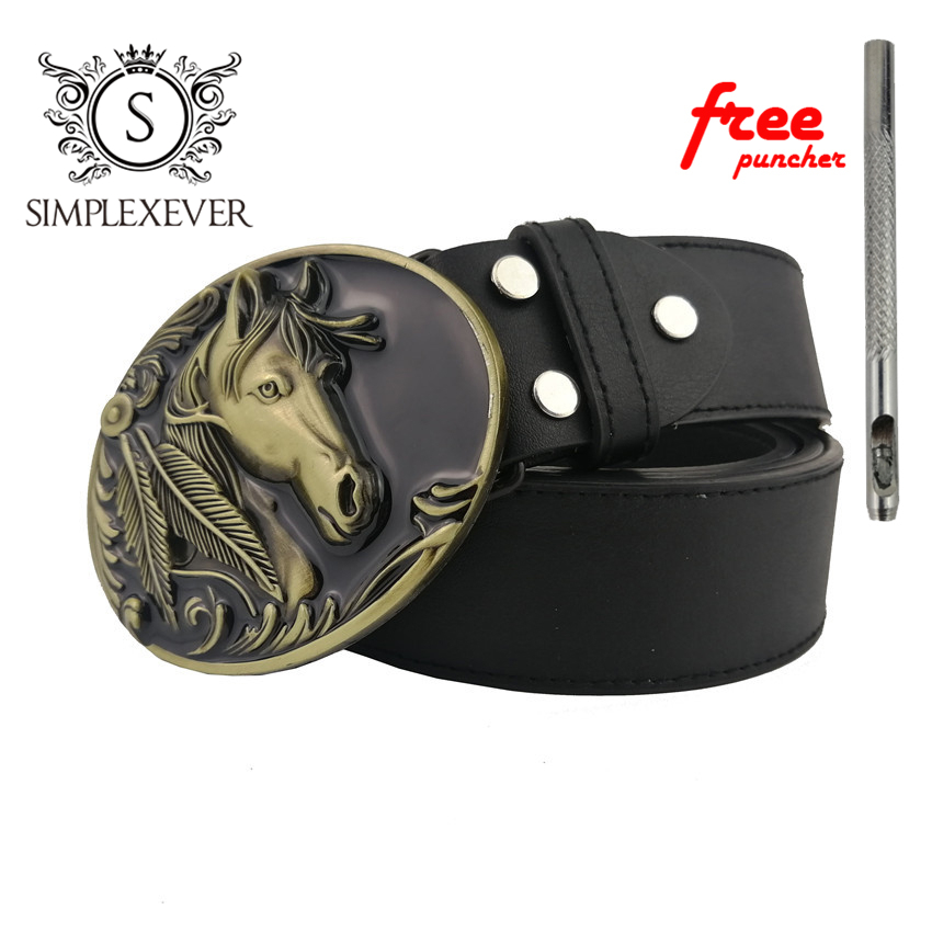 Solid Brass Belt Buckle Horse Cowboy Belt Buckles Suit For 4cm Width Snap On Belt  Mens Belt Buckle Head With Belt