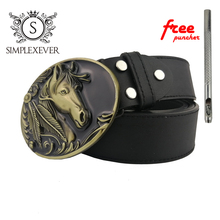 Solid Brass Belt Buckle Horse Cowboy Buckles Suit for 4cm Width Snap on  Mens Head with
