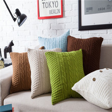 45x45cm Vintage Cushion Cover Solid Knitted Square Beige Pillows Case Car Sofa Home Christmas цена и фото