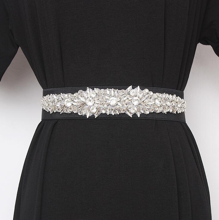 Women's Runway Fashion Blingbling Rhinestone Beaded Cummerbunds Female Dress Corsets Waistband Belts Decoration Wide Belt R2423