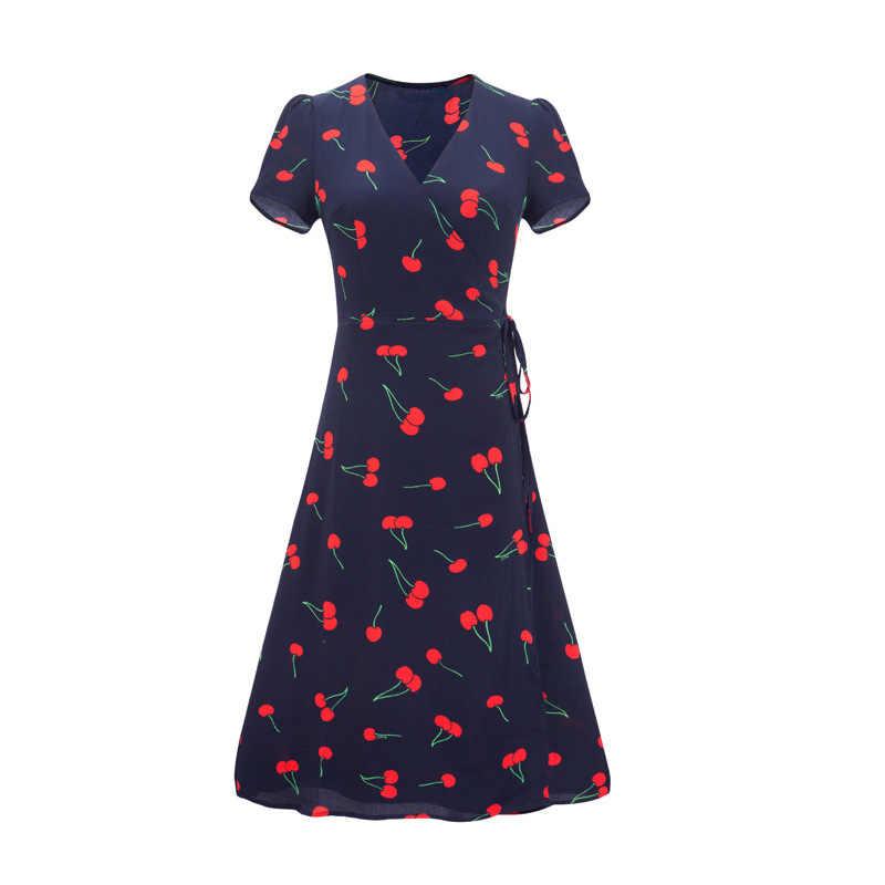 Zaraing stil 2020 İngiltere stil v yaka yaz plaj elbise sahil tatil tatil kiraz baskı elbise egirl şifon kumaş midi