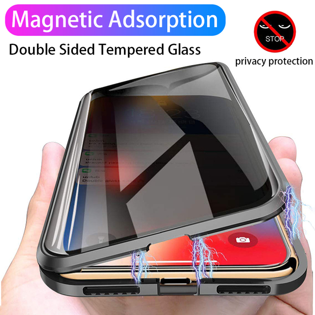 Magnetic Adsorption Tempered Glass Privacy Metal Phone Case Coque 360 Magnet Antispy Cover for iPhone XR XS X 11 Pro Max 8 7 6s