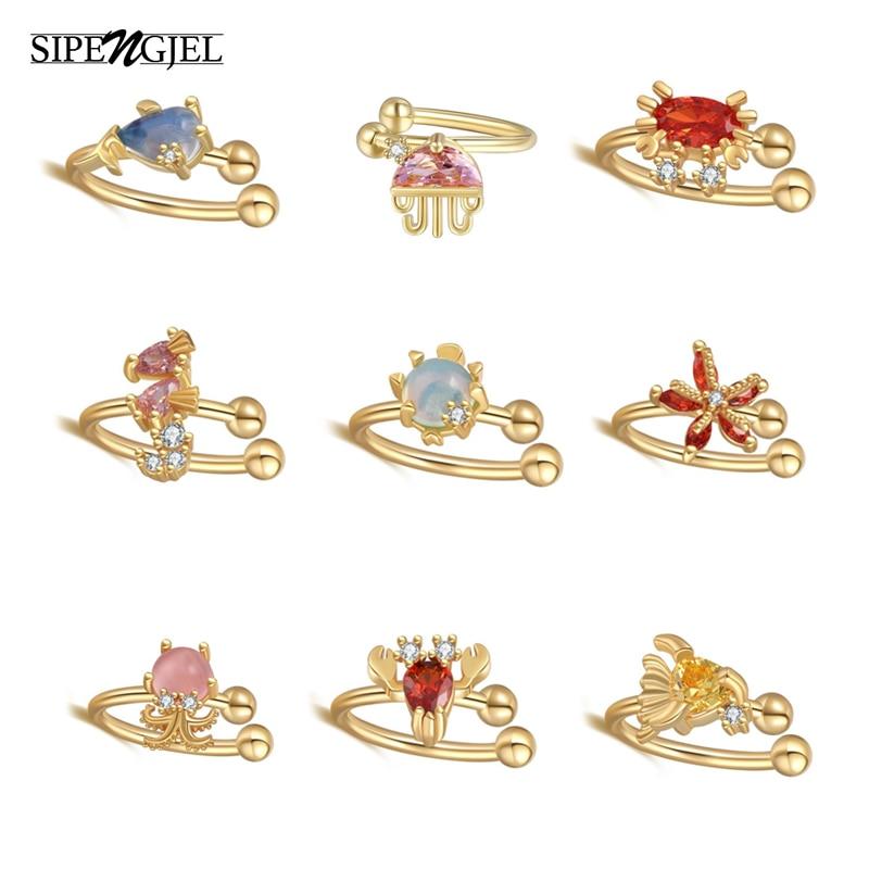 SIPENGJEL Fashion Sweet Ocean Series Ear Cuff Earrings Simple Korean Style No Piercing Colored Earrings Clip On Jewelry 2021