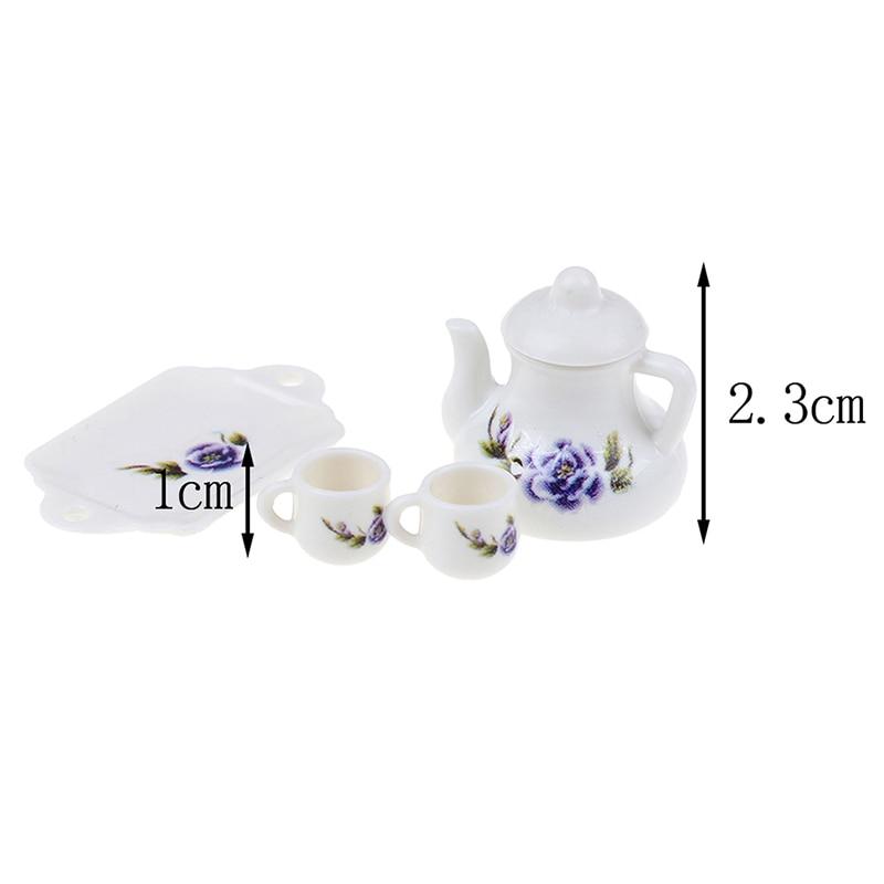 4Pcs/lot Porcelain Tea Cup Set Chintz Flower Tableware Kitchen 1:12 Dollhouse Miniature Furniture Toys For Children