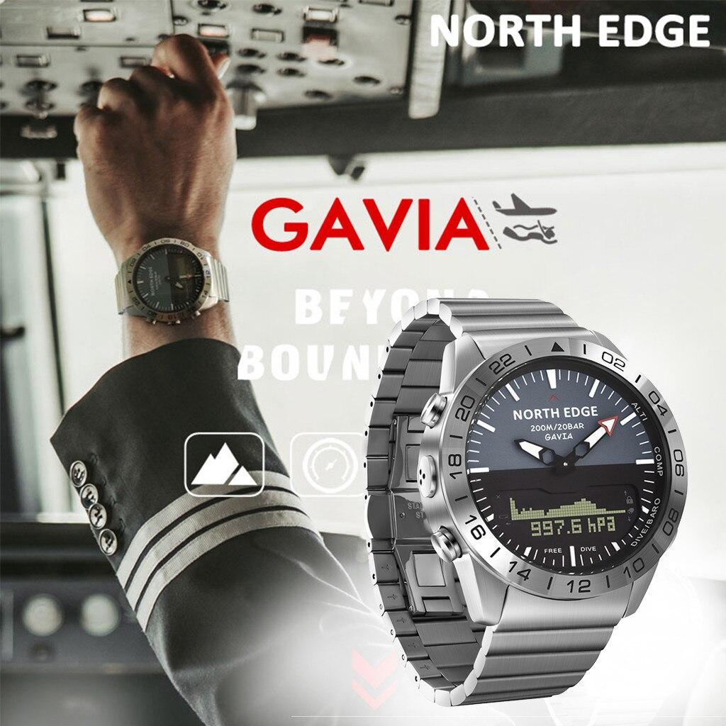 Norte Borda Inteligente Relógio de Mergulho dos homens Sports Digital Watch Mens Relógios de Luxo de Aço Cheio de Negócios À Prova D Água 100m Altímetro bússola
