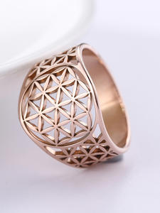 Dawapara Hollow Flower of Life Wedding Bands Rose Gold Stainless Steel Jewelry Crystal  Engagement Ring