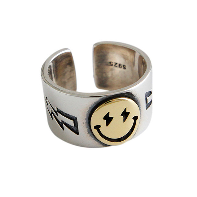 DreamySky Punk Vintage Smile Face Rings For Women Boho Female Charms Jewelry  3