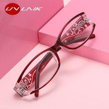UVLAIK Oval Cat Eye Reading Glasses Women Retro Imitation Diamond Glasses for Reader +1.0 +1.5 +2.0 +2.5 +3.0 +3.5 Diopter