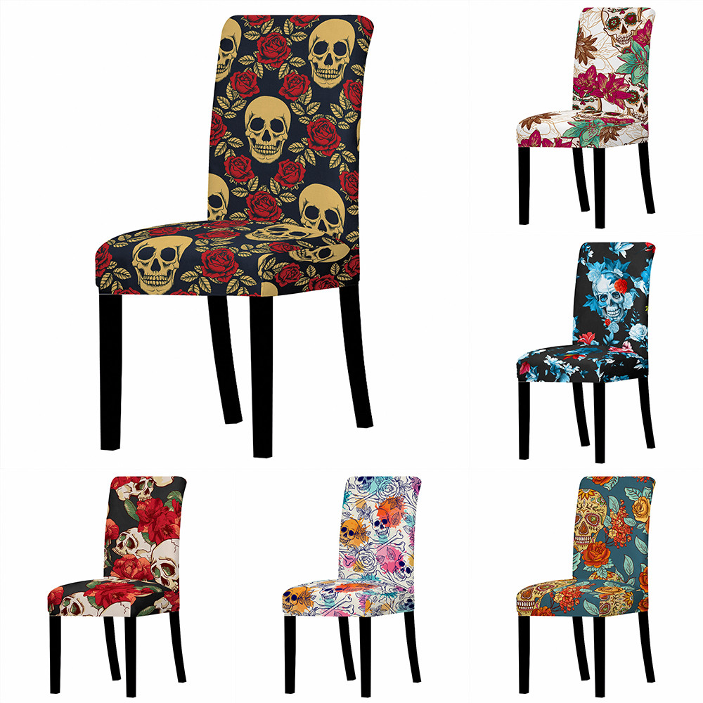 Skull Chair Cover Spandex Stretch Restaurant Chair Cover Wedding Banquet Chair Protective Cover Removable Washable Chair Cover