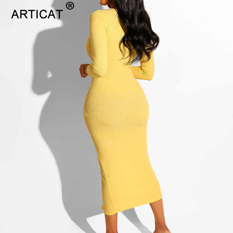 Articat セクシーな V ネック長袖女性ボディコンドレス 2020 秋シングルブレスト女性高分割ホリデーパーティードレス
