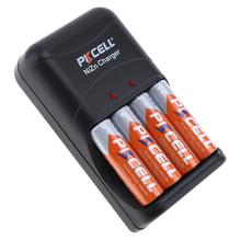 PKCELL – batterie Rechargeable AA 1.6V 1.9v 2500mWh NIZN, chargeur de batterie, 4 emplacements, 2 emplacements, prise us eu AAA, 4 pièces
