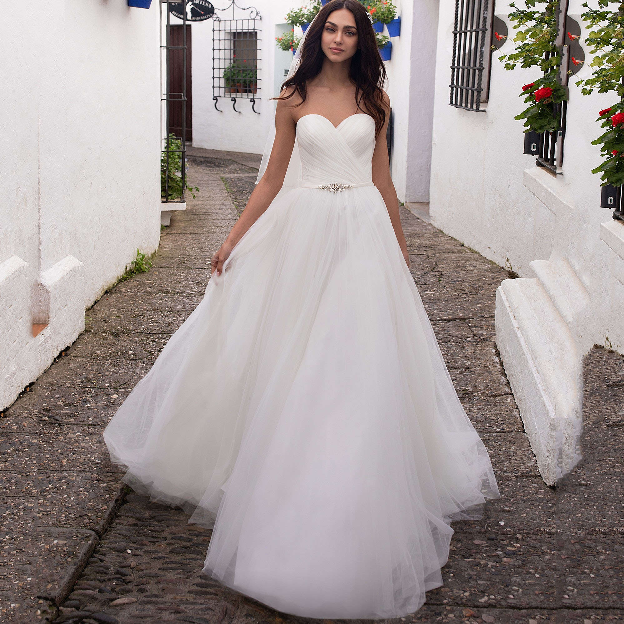 Sweetheart Neckline Wedding Dress 2019 Off The Shoulder Beach Boho Bride Gown A-line Vestido De Noiva Customized