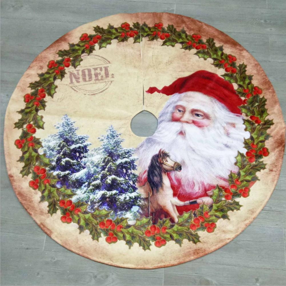 New Year Christmas Tree Skirt Fabrics Carpet 120CM Santa Claus Style Merry Christmas Decorations For Home Natal Tree Skirts in Tree Skirts from Home Garden