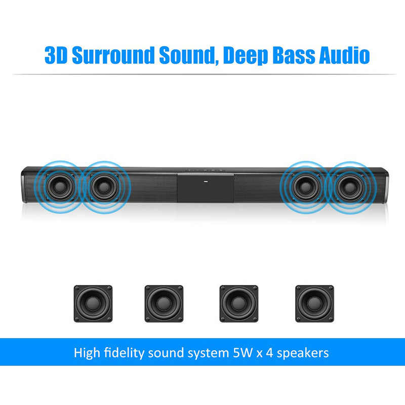 2020 Nuovo 40W Super-Potenza Senza Fili di Bluetooth Soundbar Altoparlante Subwoofer TV Home Theater Soundbar + Telecomando