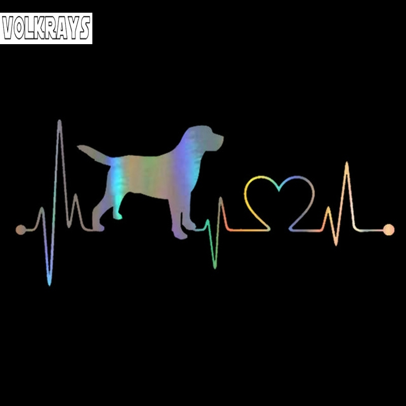 Volkrays Creative Car Sticker Labrador Retriever Heartbeat Love Sticker On Car Funny Decals Vinyl Car Styling,15cm*5cm