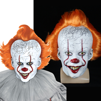 Stephen King's Mask Penny Weiss Horror Clown Yellow Hair Clown Mask Scary Halloween Cosplay Costume Props new halloween devil clown vampire mask yellow goblins mask halloween horror mask creepy costume party cosplay props