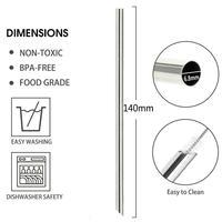 FUHAIHE Großhandel 6 8mm * 140mm 304 Reusable Edelstahl Metall Stahl Strohhalme für Perle Milchshake Fett Blase Tee Kreative bevel Strohhalme auf