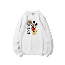Original Disney Mickey Joint Crew Neck Sweater Winter Plus Fleece Multicolor Fleece Top Korean Girl Clothes Sweatshirt