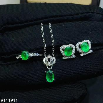 KJJEAXCMY boutique jewelry 925 sterling silver inlaid Natural Emerald classic Ring Earring Necklace Set Support Test noble