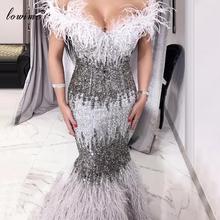 Bliski wschód Plus rozmiar suknie balowe 2020 Mermaid Feathers Sexy sukienki koktajlowe sukienka wieczorowa cekiny damskie sukienki na przyjęcie Vestidos tanie tanio Lowime Kochanie Bez rękawów NONE Długość podłogi Prom dresses Off the Shoulder Pióra Cekinami simple Naturalne LWPD030