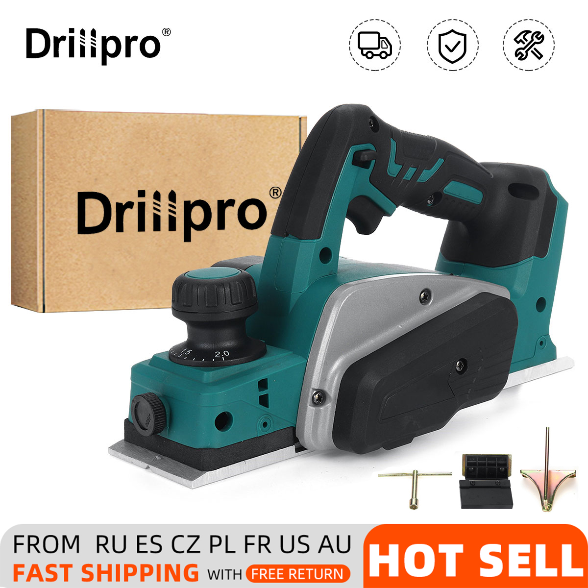 Drillpro 18V 15000rpm Rechargeable Electric Planer Cordless Handheld for Makita 18V Battery Woodworking Wood Cutting with Wrench