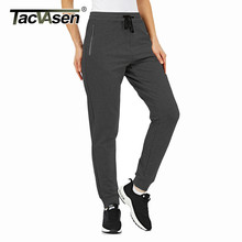 TACVASEN Women's Running Pants with Drawstring Joggers Jogging Fitness Bodybuilding Trousers Casual Gym Bottoms Zipper Pockets