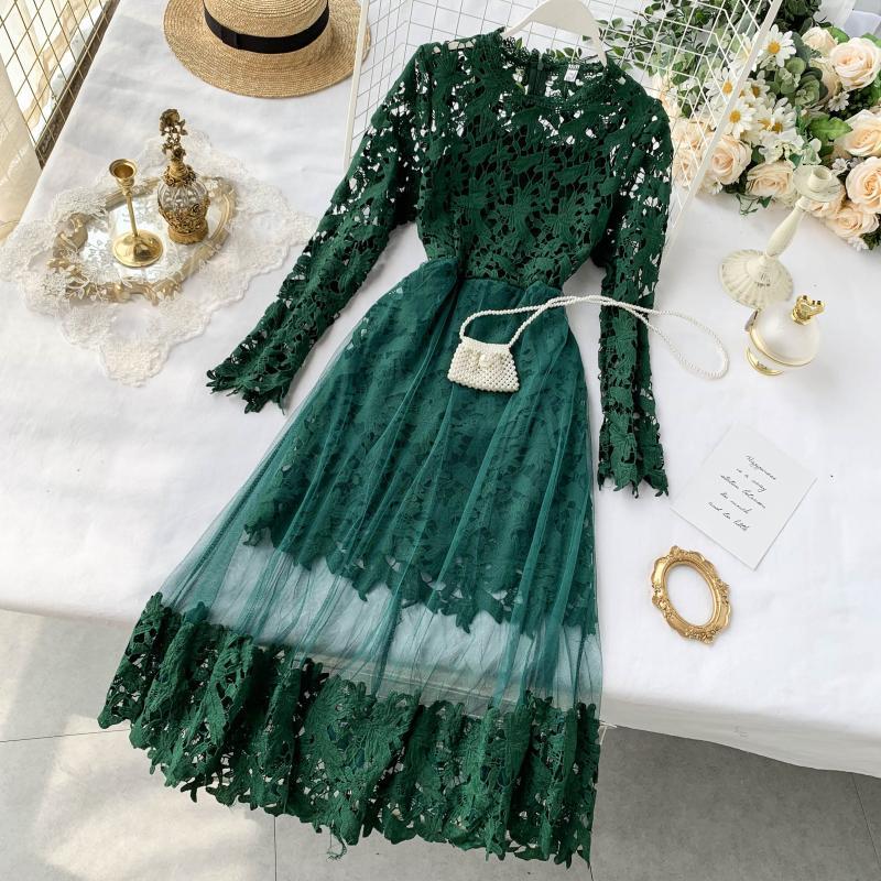 FMFSSOM Women Lace Hollow Out Mesh Patchwork Solid Dresses Spring Summer Women's O Neck Long Sleeve High Waist Slim Dress