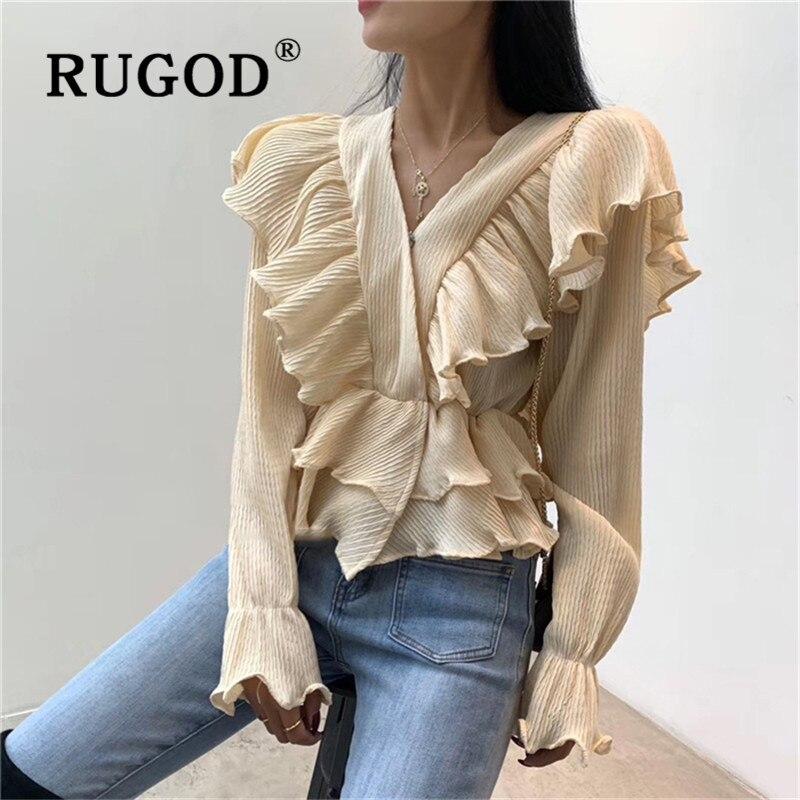 RUGOD Spring Chiffon Ruffle Blouse Women Blouses Long Sleeve Crop Top Korean Fashion Clothing Woman Shirts Casual Elegant Shirt