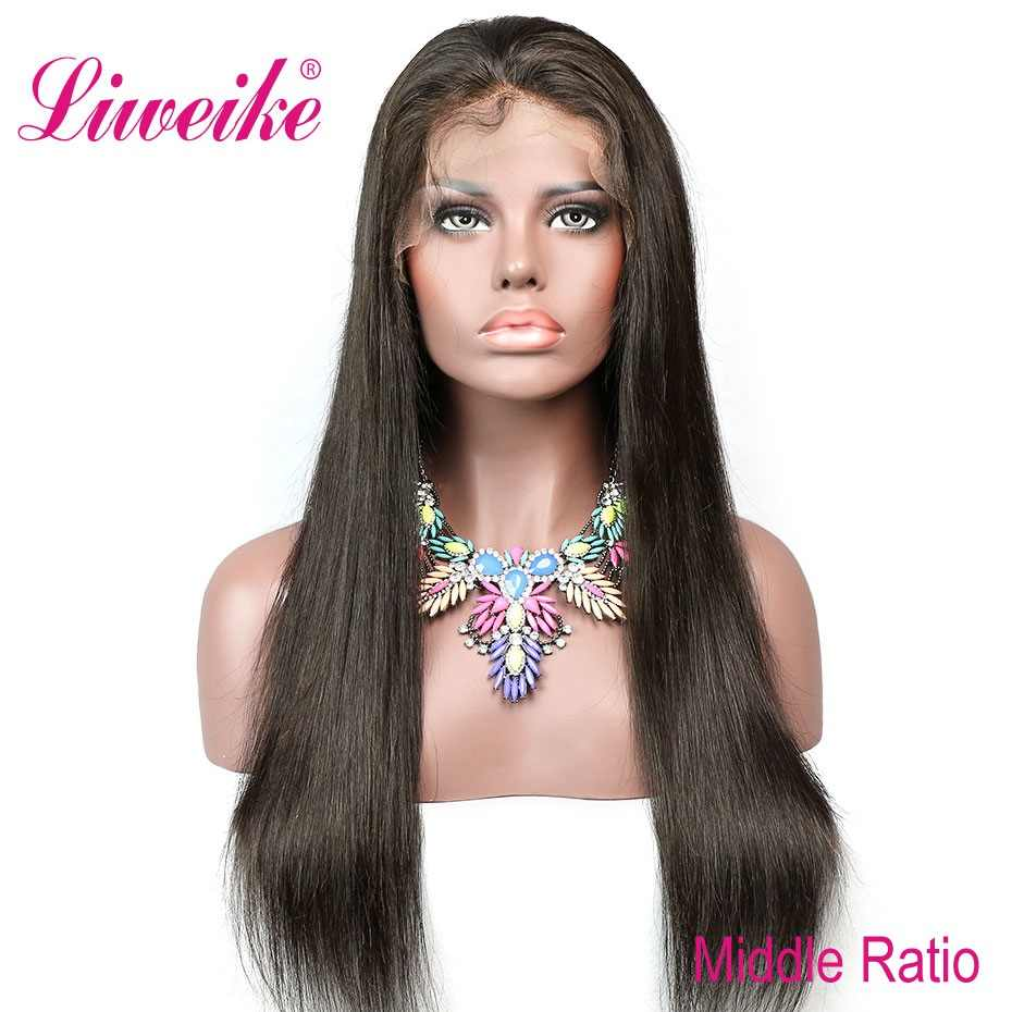 Liweike Straight Remy Hair 13*4 Lace Front Wig Brazilian Lace Frontal Human Hair 1B Natural Color Pre Plucked 150% Density Wigs