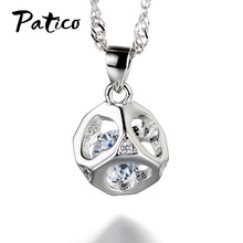 Korean Trendy 925 Sterling Silver Cubic Crystal Pendant Necklaces For Women Collares De Moda 2019 Zircon Chain
