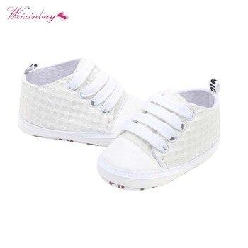 Zapatos de lona a cuadros para primeros pasos de bebés recién nacidos, zapatillas para niños y niñas, zapatos infantiles de fondo suave para niños