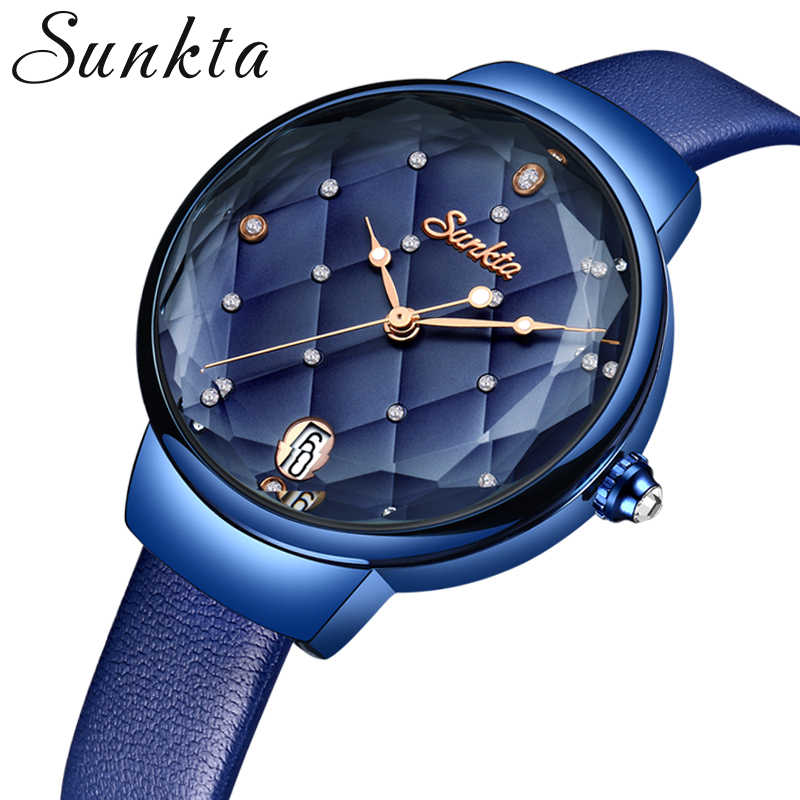 SUNKTA Women Fashion Blue Quartz Watch Lady Leather Watchband High Quality Casual Waterproof Wristwatch Gift for Wife 2019+Box
