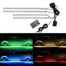 Car Bottom Atmosphere Lamp Underbody Decorative Light Music Active Sound Control 4x 8 Colors Auto LED Strip Neon Light