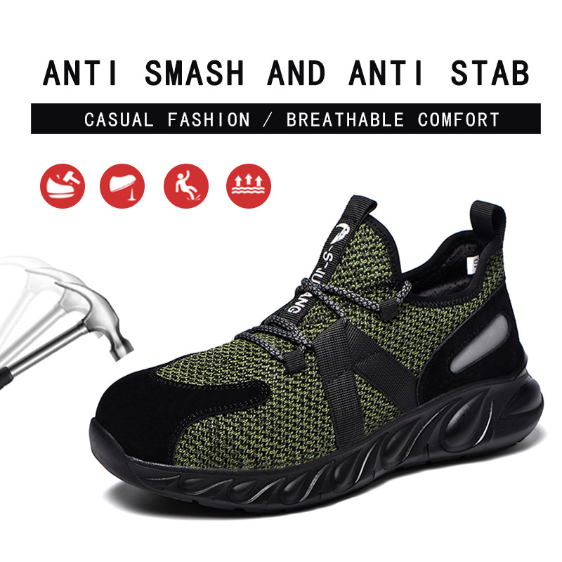 Breathable Men Safety Shoes Steel Toe Work Shoes For Men Anti-smashing Construction Sneaker With Reflective Stripes