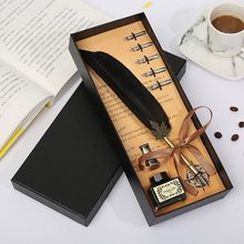 Europe And the United States Creative Craft Feather Pen New Metal + Tube Ink Set Gift Box High Quality Stationery