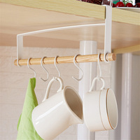 Hook Household Decoration Cup Rack Under Japanese Iron Art Cabinet Towel Receives Nail Free Punch Free Wooden Suspension Rack|Hooks & Rails| |  -