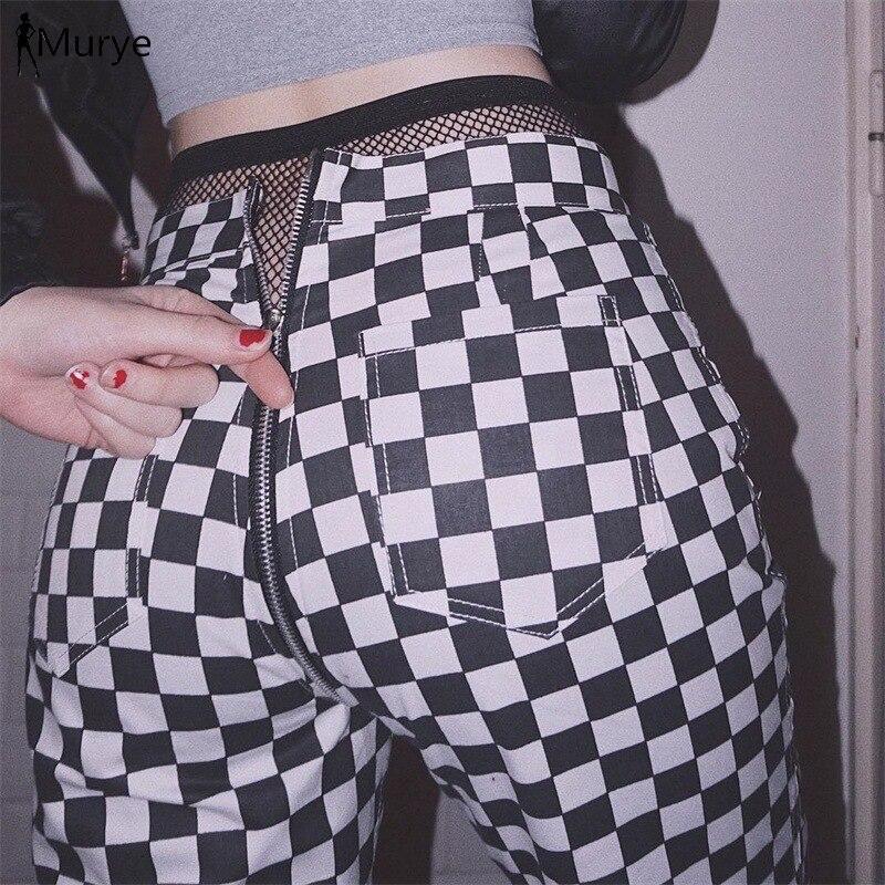Sexy Women Harem Pants Capris Back Ziepper Plaid High Waist Vintage Joggers Hippie Shinny Trousers Streetwear Sports Clothing
