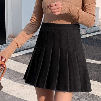 Fashion Women Skirt Ladies Solid Color High Waist A-Line Woolen Short Student Pleated Harajuku Uniforms