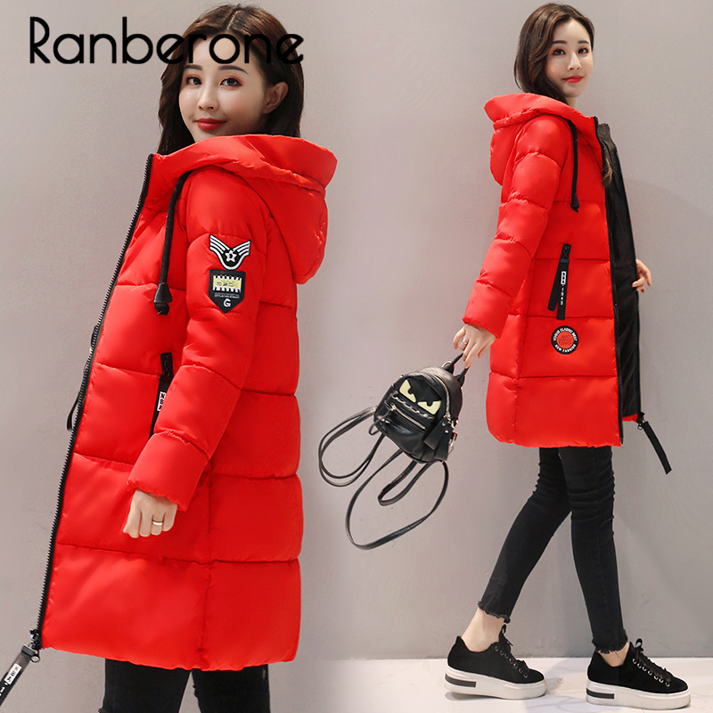 Ranberone Winter Jacket Women Long Parkas Hooded Womens Long Winter Jacket and Coats Slim Thick Warm Cotton Padded Coat Outwear