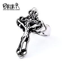 Байер крест Иисуса Христа кольцо Титан Нержавеющая сталь христианский Анель для мужчин кольца для молитвы Винтаж Панк Lucky ювелирные изделия R001