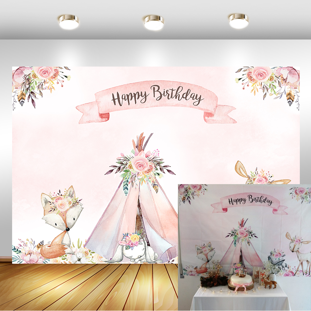 Neoback Woodland Baby Douche Achtergrond Bloem Boho Teepee Vos Woodland Baby Shower Party Banner Achtergrond Fotografie