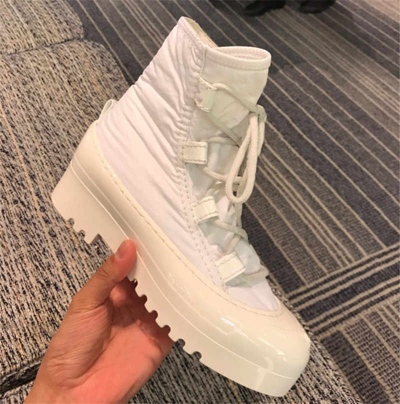 แพลตฟอร์มข้อเท้ารองเท้าผู้หญิงส้น botas รองเท้าหนังผู้หญิงรองเท้าผู้หญิง Lace Up Bota feminina รองเท้า COZY sapato feminino