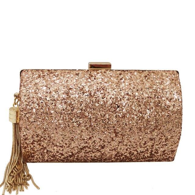 패션 브랜드 블루 반짝이 술 여성 이브닝 백 및 클러치 갈라 디너 숙녀 금속 클러치 지갑 핸드백 여성 지갑